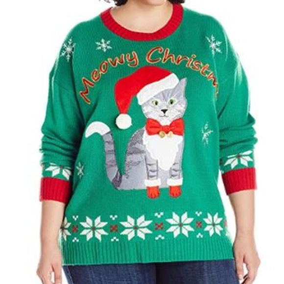 Plus Size Ugly Christmas Sweater.Women S Plus Size Meowy Cat Ugly Christmas Sweater Boutique